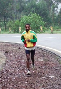 A (world class?) runner on the side of the road