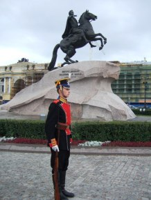 The equestrian statue of Peter the Great on the Senate Square in St Petersburg