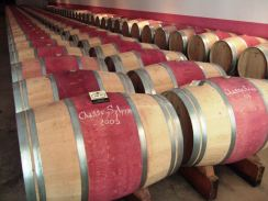 Wine barrels at the famous Château Chasse Spleen in Moulis-en-Médoc, France