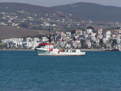 A coast guard vessel patrols the bay of Tangiers, in Tangiers, Morocco