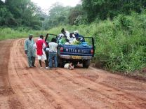 When my taxi punctured a tire outside Mayumba, Gabon