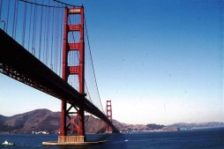 The Golden Gate bridge in San Francisco, California in 1976