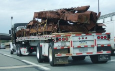 Steel from the World Trace Center travels on the New Jersey Turnpike