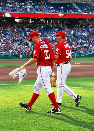 Stephen Strasburg, star pitcher for the Washington Nationals team, gets ready to go to the mound.