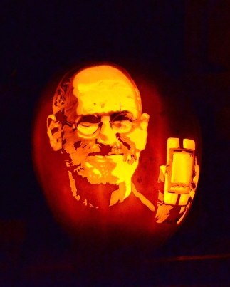 A pumpkin with a carved picture of steve Jobs, in Vienna, Virginia