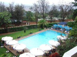 The pool that saved hundreds form the Rwandan genocide - at the Hotel des Mille Collines in Kigali, Rwanda