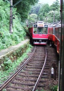 The Hakone-Tozan railway in Hakone, Japan