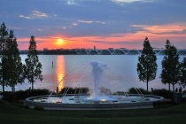 Sunset seen from the National Harbor complex located 8 miles south of Washington, DC