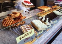 Belgian waffles and other goodies at the annual October fairi in Liege, Belgium