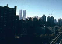 Manhattan skyline with the twin World Trade Center towers in New York, New York -1976