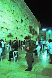 An evening of prayers at the Western Wall in Jerusalem, Israel