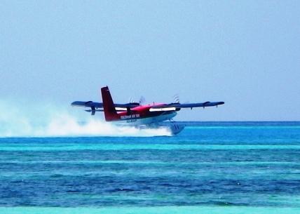 A hydroplane takesoff fromKani, the Maldives